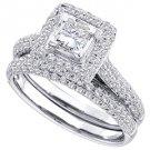 WOMENS DIAMOND ENGAGEMENT HALO RING WEDDING BAND BRIDAL SET PRINCESS CUT 1.23 CT
