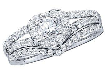 HEART SHAPE DIAMOND ENGAGEMENT HALO RING WEDDING BAND BRIDAL SET ROUND CUT