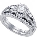 WOMENS DIAMOND ENGAGEMENT HALO RING WEDDING BAND BRIDAL SET ROUND CUT 1.07 CARAT