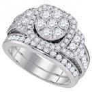WOMENS DIAMOND ENGAGEMENT HALO RING WEDDING BAND BRIDAL SET ROUND CUT 2 CARATS