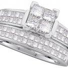 WOMENS DIAMOND ENGAGEMENT RING WEDDING BAND BRIDAL SET PRINCESS CUT 1.5 CARATS