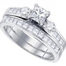 WOMENS 3-STONE DIAMOND ENGAGEMENT RING WEDDING BAND BRIDAL SET PRINCESS CUT