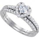 HEART SHAPE DIAMOND HALO ENGAGEMENT RING WEDDING BAND BRIDAL SET 14KT WHITE GOLD