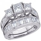WOMENS DIAMOND ENGAGEMENT 3-STONE RING WEDDING BAND BRIDAL SET PRINCESS CUT