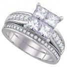 WOMENS DIAMOND ENGAGEMENT HALO RING WEDDING BAND BRIDAL SET PRINCESS CUT 1.04CT