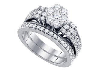 WOMENS DIAMOND ENGAGEMENT RING WEDDING BAND BRIDAL SET ROUND CUT 1.25 CARAT