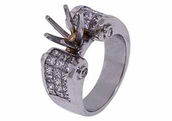 2.18 CARAT WOMENS DIAMOND ENGAGEMENT RING SEMI-MOUNT PRINCESS CUT WHITE GOLD