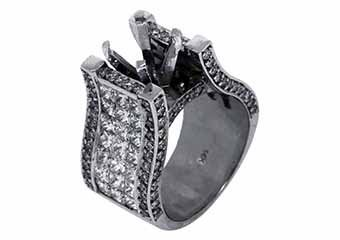 6 CARAT WOMENS DIAMOND ENGAGEMENT RING SEMI-MOUNT PRINCESS CUT WHITE GOLD