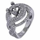 1.79 CARAT WOMENS DIAMOND ENGAGEMENT RING SEMI-MOUNT ROUND CUT WHITE GOLD