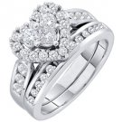 WOMENS HEART SHAPE DIAMOND ENGAGEMENT HALO RING WEDDING BAND BRIDAL SET