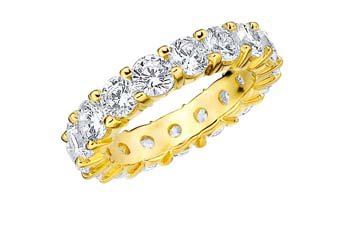 DIAMOND ETERNITY BAND WEDDING RING ROUND SHARED PRONG 14K YELLOW GOLD 5 CARATS