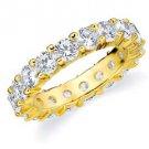 DIAMOND ETERNITY BAND WEDDING RING ROUND SHARED PRONG 14K YELLOW GOLD 4 CARATS