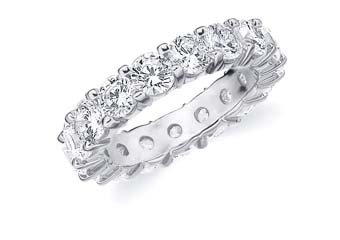 DIAMOND ETERNITY BAND WEDDING RING ROUND SHARED PRONG 14K WHITE GOLD 5 CARATS