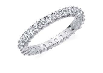 DIAMOND ETERNITY BAND WEDDING RING ROUND SHARED PRONG 14K WHITE GOLD 1.5 CARAT