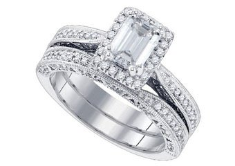 WOMENS DIAMOND ENGAGEMENT PROMISE HALO RING WEDDING BAND BRIDAL SET EMERALD CUT