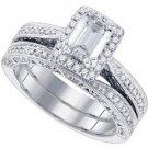 WOMENS DIAMOND ENGAGEMENT PROMISE HALO RING WEDDING BAND BRIDAL SET EMERALD CUT