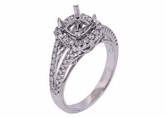 .56 CARAT WOMENS DIAMOND HALO ENGAGEMENT RING SEMI-MOUNT ROUND CUT WHITE GOLD