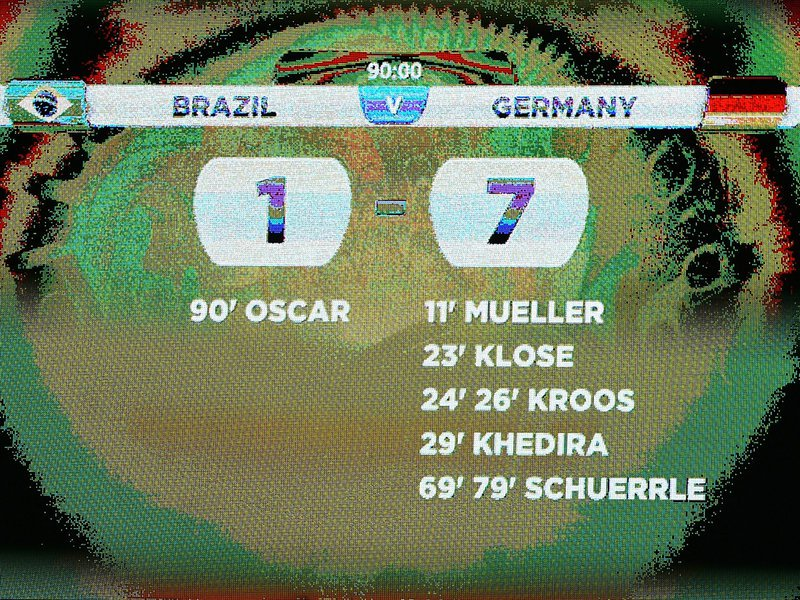 594 - 15 X 10 Photo - Footbal - FIFA World Cup - Brazil 1 Germany 7 Full Time Scoreboard