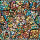 DISNEY CHARACTERS STAINED GLASS COLLAGE CROSS STITCH PATTERN
