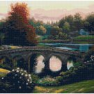 PEACEFUL GARDEN BRIDGE - GARDEN CROSS STITCH PATTERN PDF ONLY