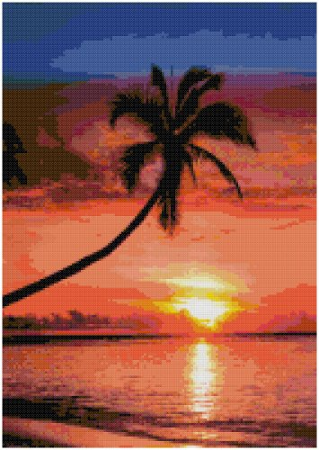 BEACH SUNSET CROSS STITCH PATTERN PDF ONLY