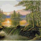 COUNTRY LAKE LANDSCAPE CROSS STITCH PATTERN PDF ONLY