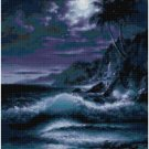 MIDNIGHT BEACH LANDSCAPE CROSS STITCH PATTERN PDF ONLY