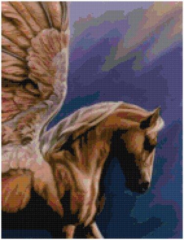 GOLDEN PEGASUS CROSS STITCH PATTERN PDF ONLY