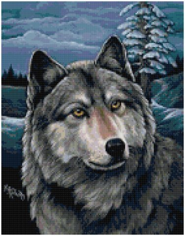 NIGHT WOLF CROSS STITCH PATTERN PDF ONLY