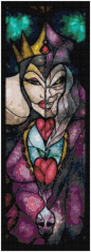 DISNEY EVIL QUEEN SNOW WHITE STAINED GLASS  CROSS STITCH PATTERN PDF ONLY