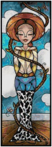 DISNEY JESSIE TOY STORY STAINED GLASS  CROSS STITCH PATTERN PDF ONLY
