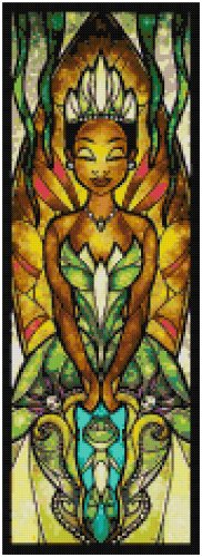 DISNEY TIANA PRINCESS AND THE FROG STAINED GLASS  CROSS STITCH PATTERN PDF ONLY