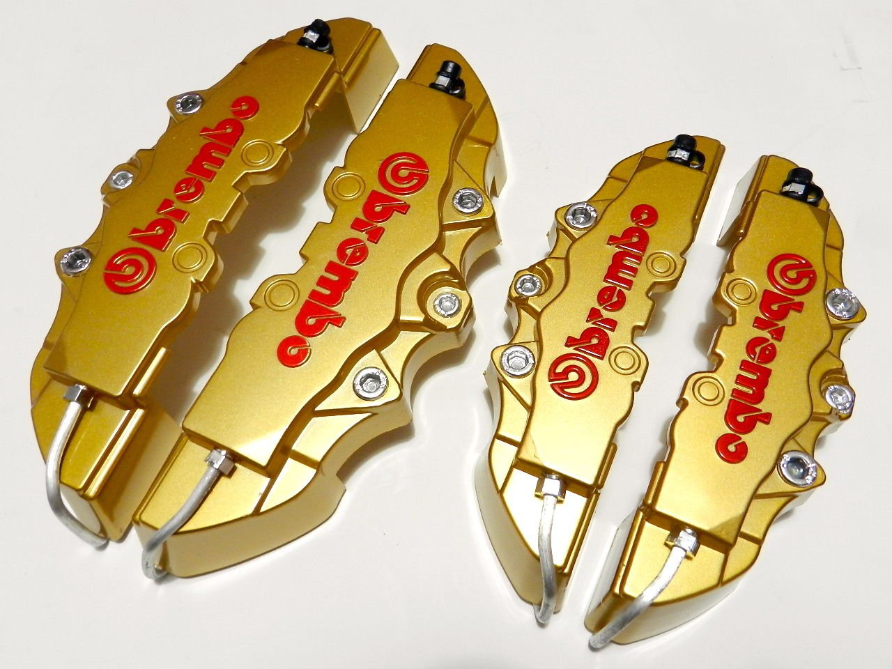 GOLD 4PC F+R UNIVERSAL 3D ABS PLASTIC DISC BRAKE CALIPER COVERS