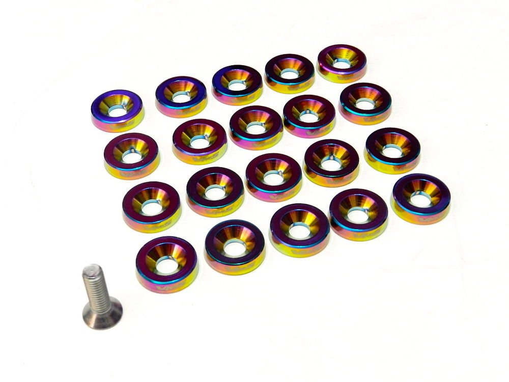 20PC VMS RACING FENDER WASHER * BOLT & WASHER KIT * - NEO CHROME