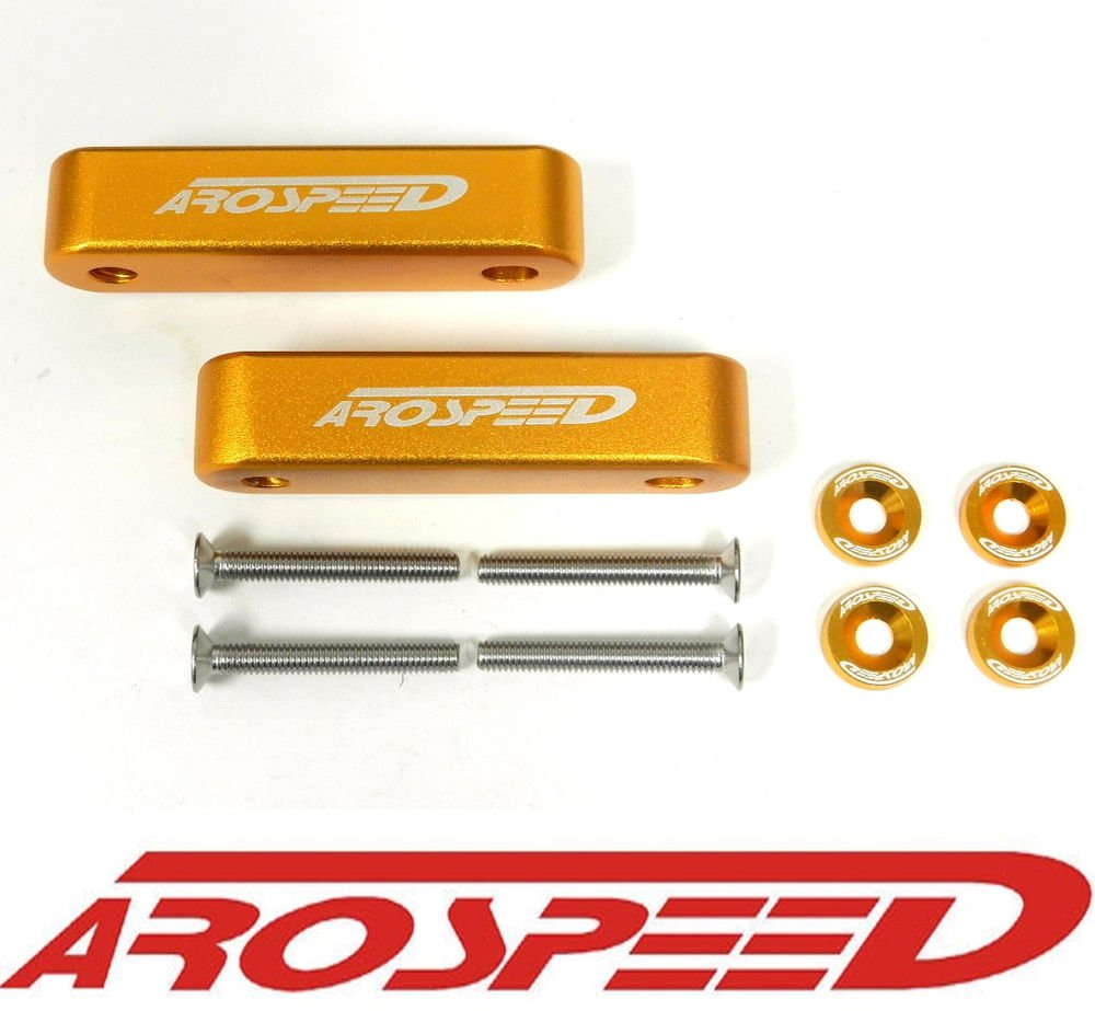"AROSPEED ORANGE CNC BILLET 3/4"" HOOD VENT SPACER RISER KIT + BOLTS + WASHERS"