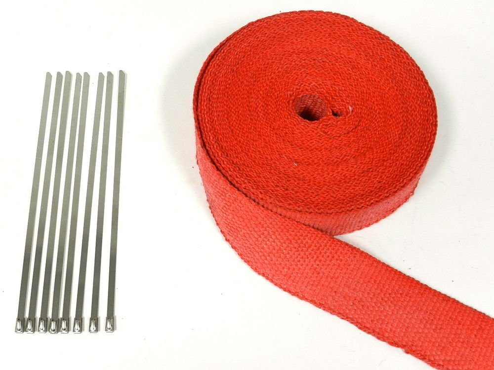 50FT UNIVERSAL CAR TRUCK SUV RED HEAT WRAP W/ 8 STAINLESS STEEL TIES