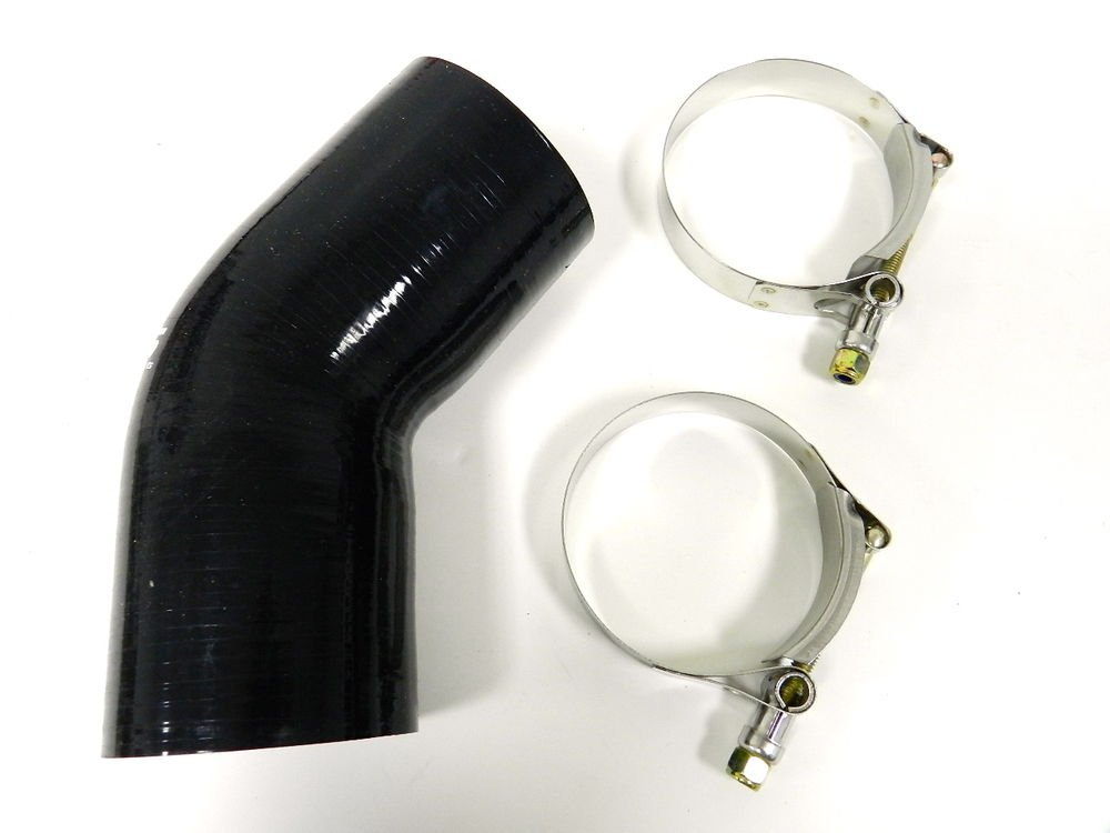 """VMS RACING 3 PLY REINFORCED SILICONE 45� COUPLER & CLAMP KIT - 3"""" BLACK"""