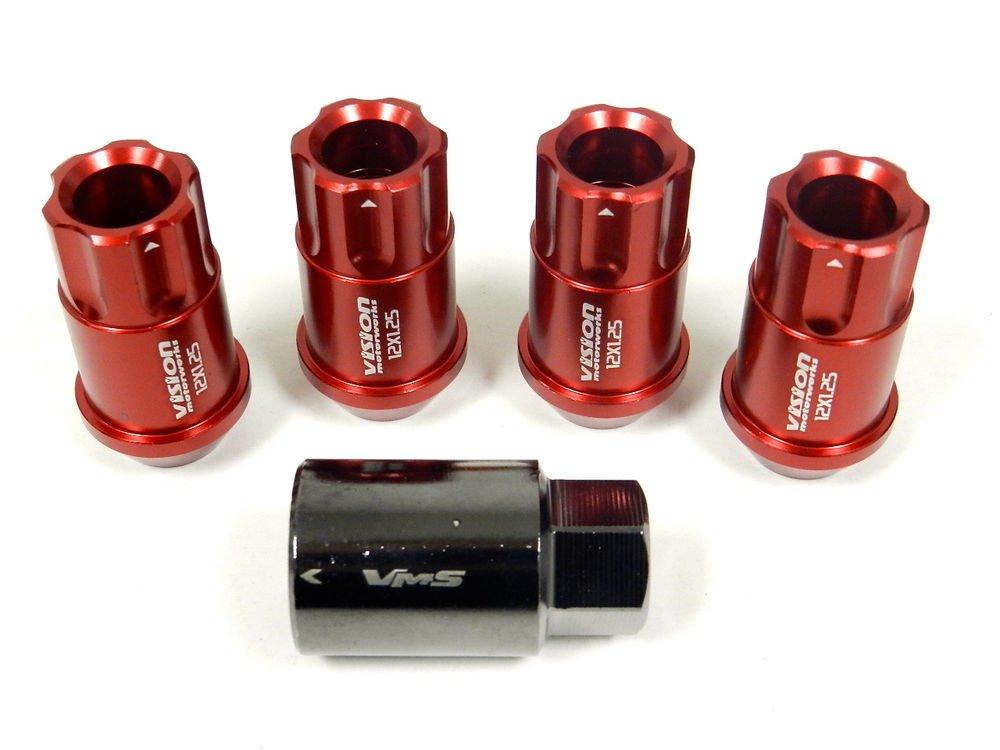 RED 4PC LOCKING LUG NUTS WITH KEY SUBARU IMPREZA WRX STI RS 2.5 4DR