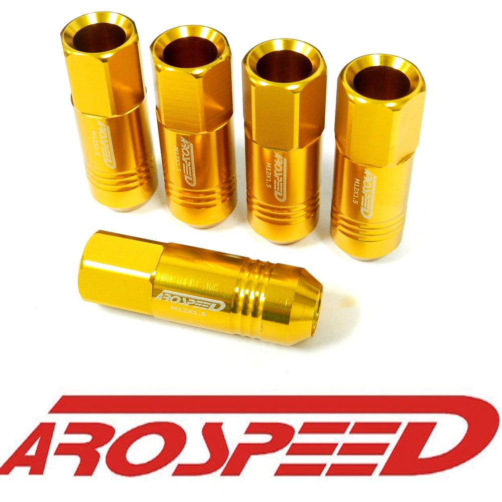 20PC 12X1.5MM 60MM EXTENDED FORGED ALUMINUM TUNER RACING LUG NUT SET GOLD C