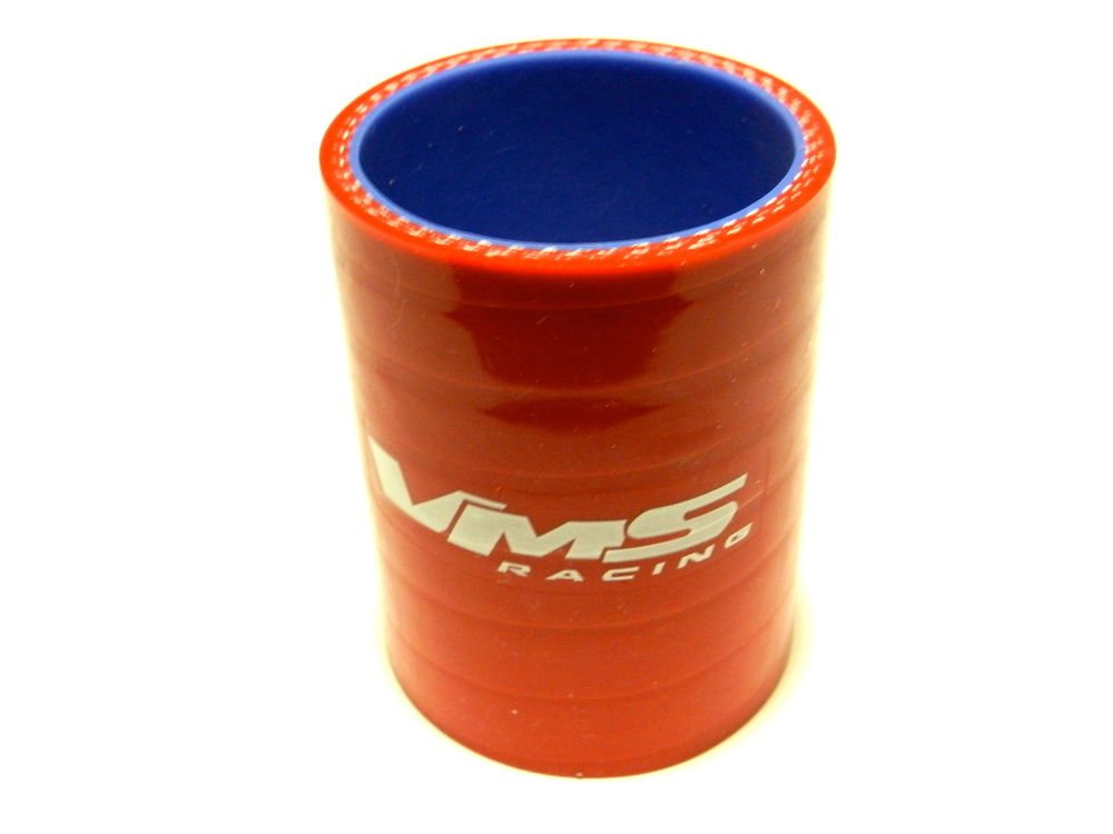 "VMS RACING 3 PLY REINFORCED SILICONE STRAIGHT COUPLER 2-2.5"" RED"