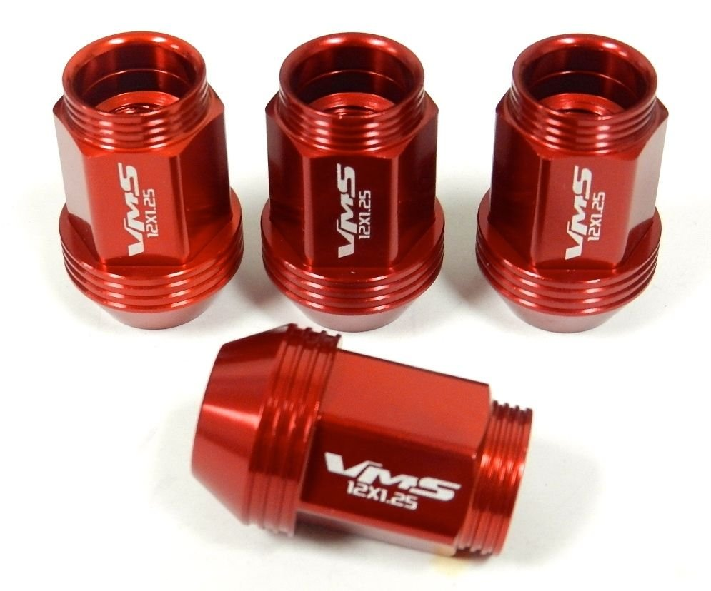 "16PC 12X1.5MM 36MM 1.40"" STANDARD LENGTH ALUMINUM RACING LUG NUT SET RED C"