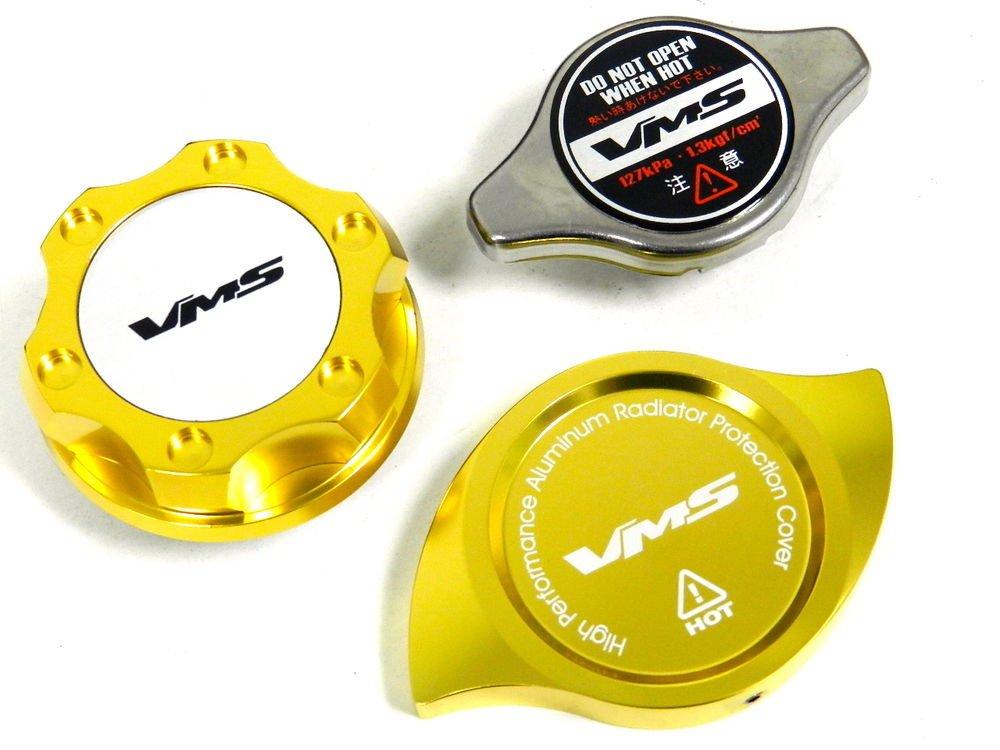 VMS RACING OIL CAP + RADIATOR CAP + BILLET COVER GOLD HONDA ACURA S