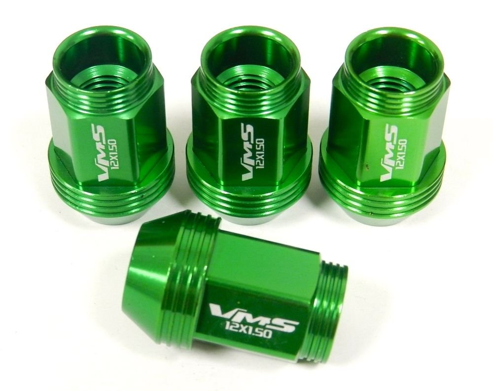 "16PC TOYOTA SCION 12X1.5MM 36MM 1.40"" STANDARD LENGTH ALUMINUM LUG NUTS GREEN"