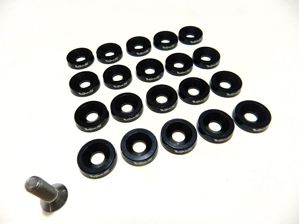 20PC BLACK ENGINE DRESS UP 10MM WASHERS AND BOLTS KIT