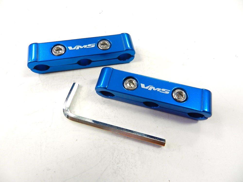 BLUE 2PC UNIVERSAL 10MM 3 HOLE SPARK PLUG WIRE SEPARATOR DIVIDER V6