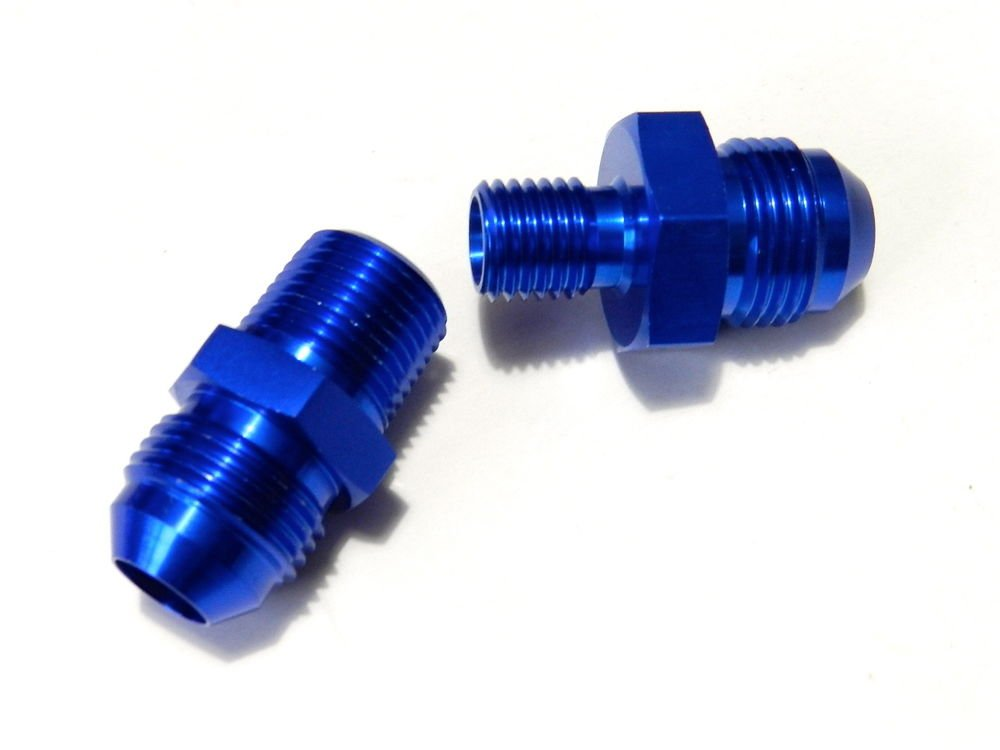 -4 ALUMINUM ADAPTER AN FITTINGS FOR BOSCH 044 FUEL PUMP - BLUE