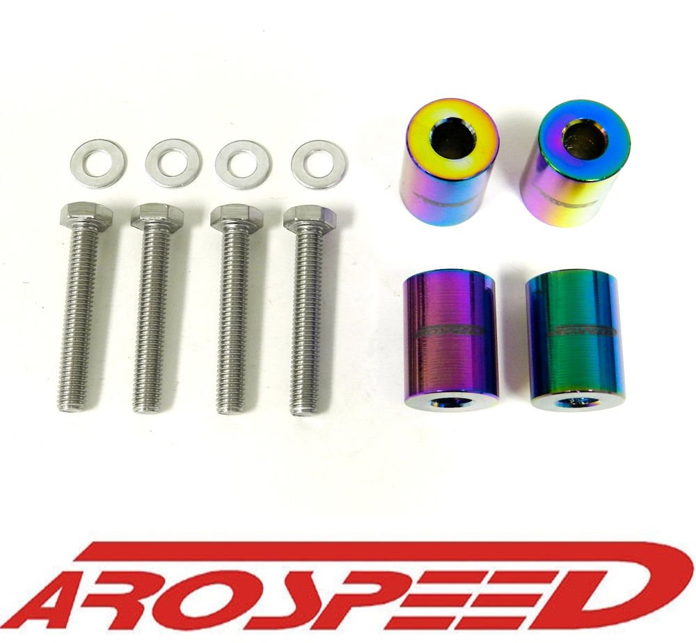 AROSPEED UNIVERSAL NEO CHROME CNC BILLET 8MM HOOD SPACER RISER VENT KIT C