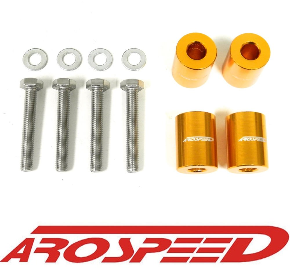 AROSPEED UNIVERSAL ORANGE CNC BILLET 8MM HOOD SPACER RISER VENT KIT D