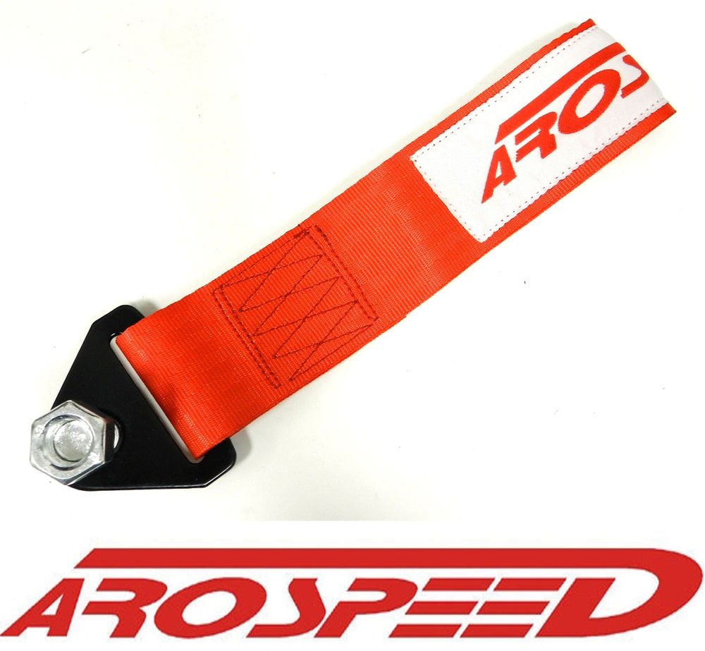 AROSPEED UNIVERSAL RED HIGH STRENGTH RACING TOW STRAP KIT FRONT/REAR B