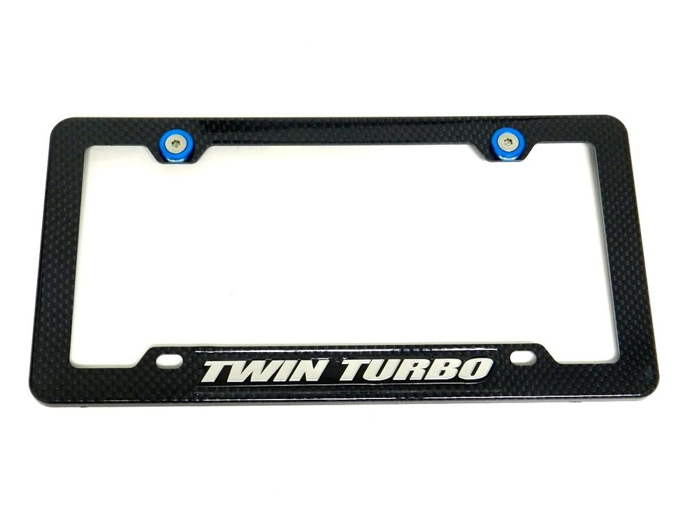 TWIN TURBO CARBON FIBER LOOK LICENSE PLATE FRAME W/ 2 BLUE WASHERS & BOLTS